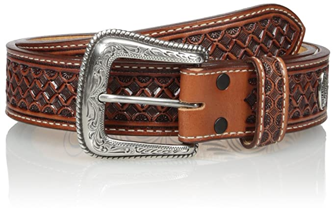 Nocona Men's Brown Mexican Tooled Basket, Tan, 34