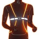 Reflective Safety Led Vest Belt With Led Fiber Optics - DoerDo - Constant And Strobe Light For Running, Walking, Cycling, Snowboarding - Adjustable, Lightweight, Waterproof - for Men, Women and Kids