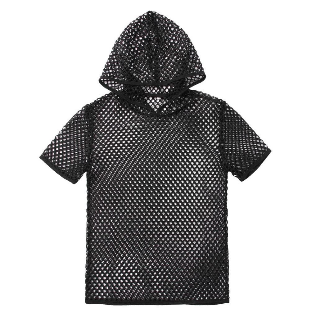 Allywit Men Blouse Fashion Mens Summer Casual Muscle Pullover Short Sleeves Mesh Shirt Top Blouse