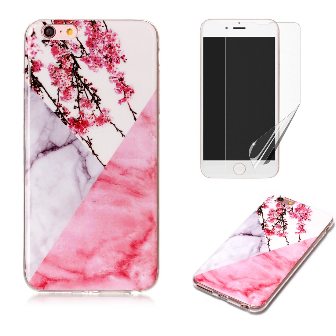 for iPhone 4/iPhone 4S Marble Case with Screen Protector, OYIME Creative Glossy Brick red & Black Marble Pattern Design Protective Bumper Soft Silicone Slim Thin Rubber Luxury Shockproof Cover
