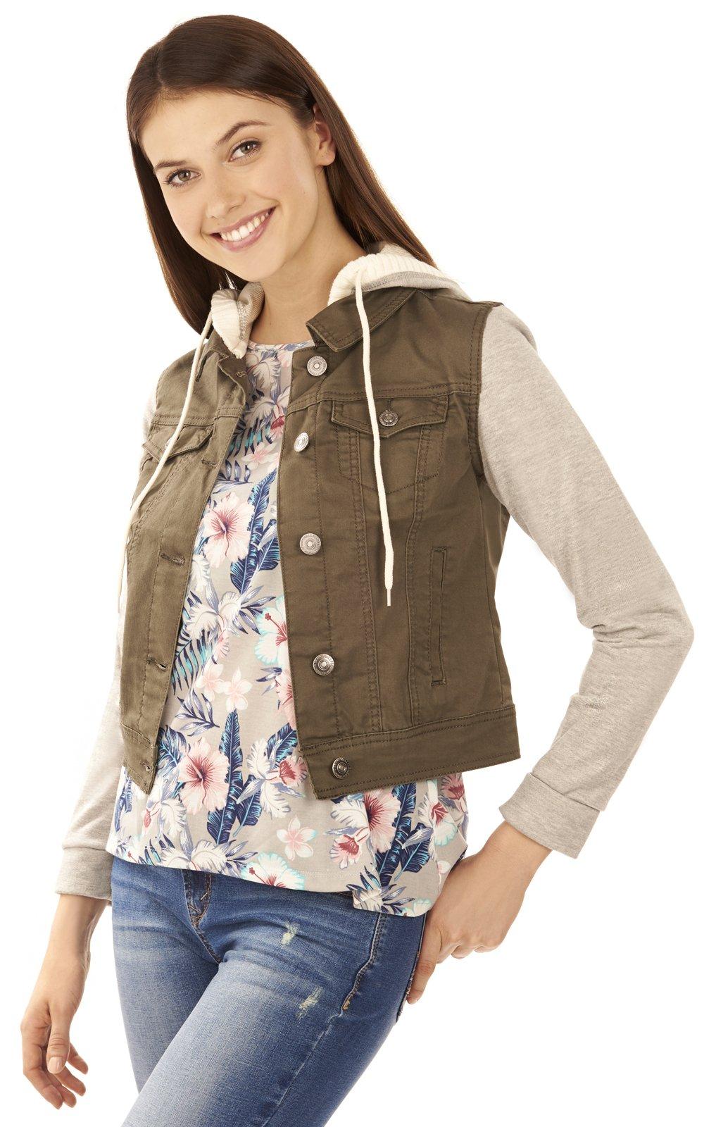 WallFlower Juniors Twill Hooded Jacket in Olive Size:JM