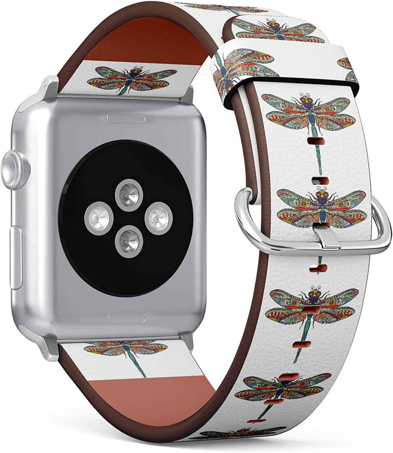 (Zen Doodle Art Doodle Sketch Dragonfly.) Patterned Leather Wristband Strap for Apple Watch Series 4/3/2/1 gen,Replacement for iWatch 38mm / 40mm Bands