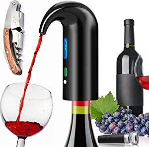 Electric Wine Aerator Pourer, Portable One-Touch Wine Decanter and Wine Dispenser Pump for Red and White Wine Multi-Smart Automatic Wine Oxidizer Dispenser USB Rechargeable Spout Pourer