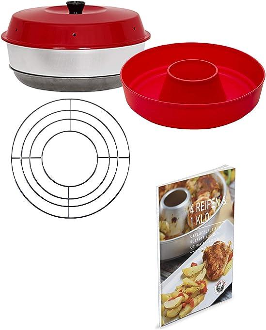 4Reifen1Klo Omnia - Juego de 4 Piezas de Horno, Molde de Silicona 2.0, Libro de Recetas de Patatas Fritas y Rejilla para Hornear