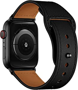 YALOCEA Leather Bands Compatible with Apple Watch Band 44mm 42mm 40mm 38mm, Top Grain Genuine Leather Strap Replacement for iWatch SE Series 6 5 4 3 2 1 (Black/Black, 44mm 42mm)