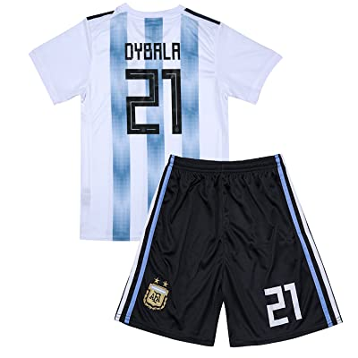 #21 Dybala 2018 Russia World Cup Argentina National Soccer Home Jersey Kids Youth White/Blue