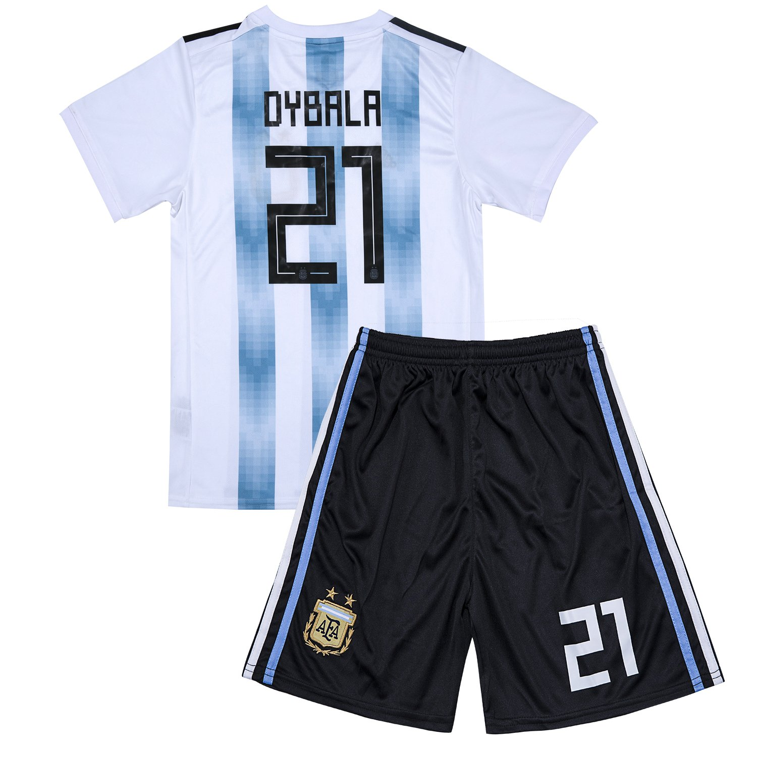 New #21 Dybala 2018 Russia World Cup Argentina National Soccer Home Jersey Kids Youth White/Blue free shipping