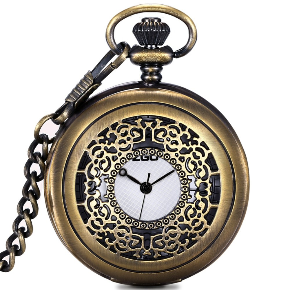 Men's and women's Quartz pocket watch,Waterproof Clamshell Carved case Roman numerals Retro pocket watch Pendant table Necklace table Students watch Old people-D