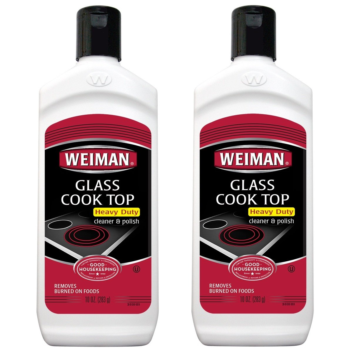 Weiman Glass Cooktop Cleaner and Polish - 10 Ounce - 2 Pack - Heavy Duty Cooktop Scrubbing Pads - Shines and Protects Glass and Ceramic Smooth Top Ranges with Its Gentle Formula
