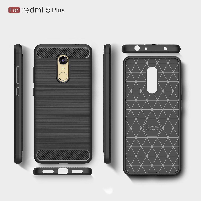 SAYOMOK Negro Funda Xiaomi Redmi 5 Plus, Xiaomi Redmi 5 Plus Fibra ...