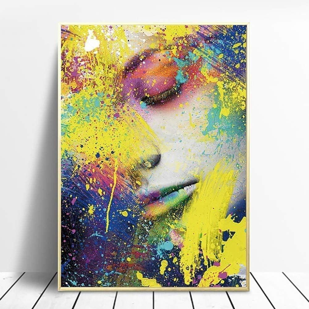 Kuizhiren1 Peinture murale abstraite color/ée sur toile Motif visage de femme 30 x 40 cm