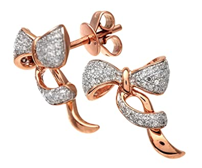 Naava Women s 9 ct Rose and White Gold Diamond Bow Earrings