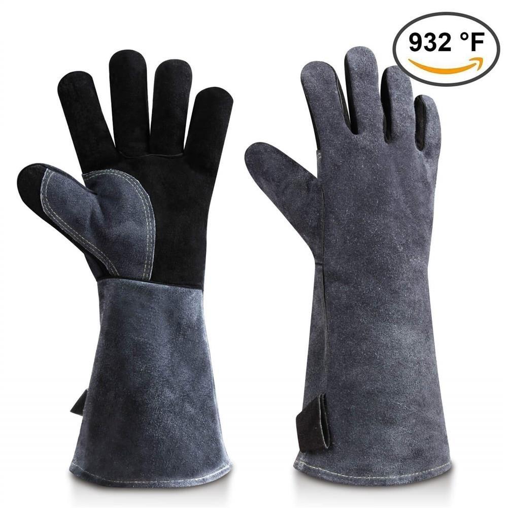 Guantes de cuero para barbacoa, guantes resistentes al calor con manga larga de 16 pulgadas para horno, microondas, parrilla, chimenea-gris y negro (1 par): ...