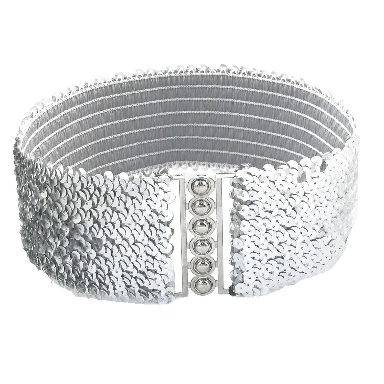 Interlock Buckle Sequin Decoration Elastic Cinch Waist Belt for Ladies