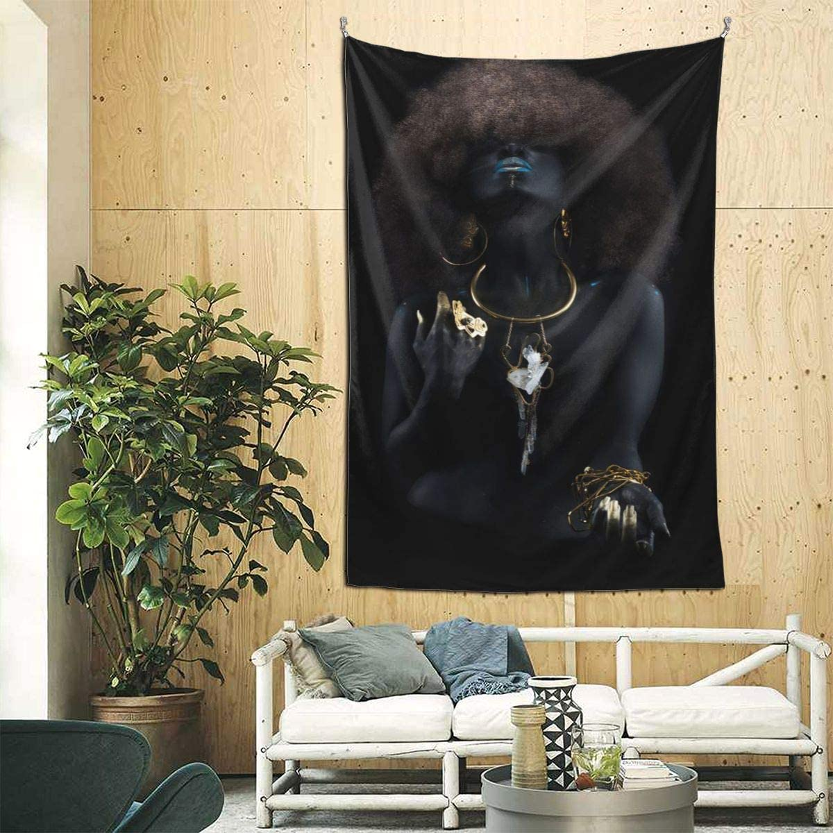 Afro Black Art Tapestry Wall Hanging Beautiful Gold Black Woman Tapestries Wall Art Hippie Bedroom Living Room Dorm Wall Decor 90×60 Inch