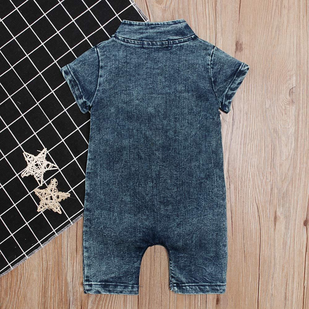 Short Sleeve for Baby Infant Boy Denim Romper Cowboy Jumpsuit