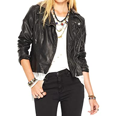 Free People Women S Hooded Vegan Leather Jacket Black 4 At Amazon