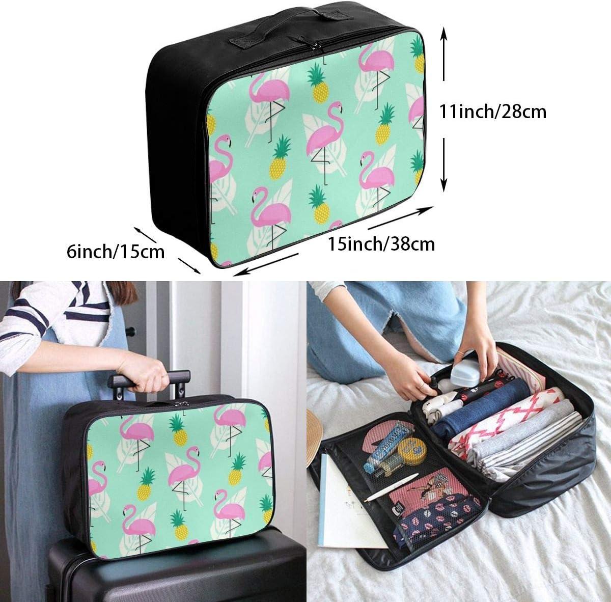 Pink Flamingo Travel Carry-on Luggage Weekender Bag Overnight Tote Flight Duffel In Trolley Handle