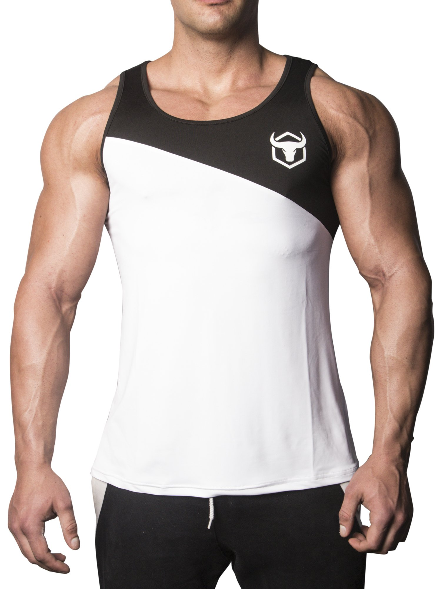 Iron Bull Strength - Tank Top - Performance Series (Large, White/Navy Blue) by Iron Bull Strength