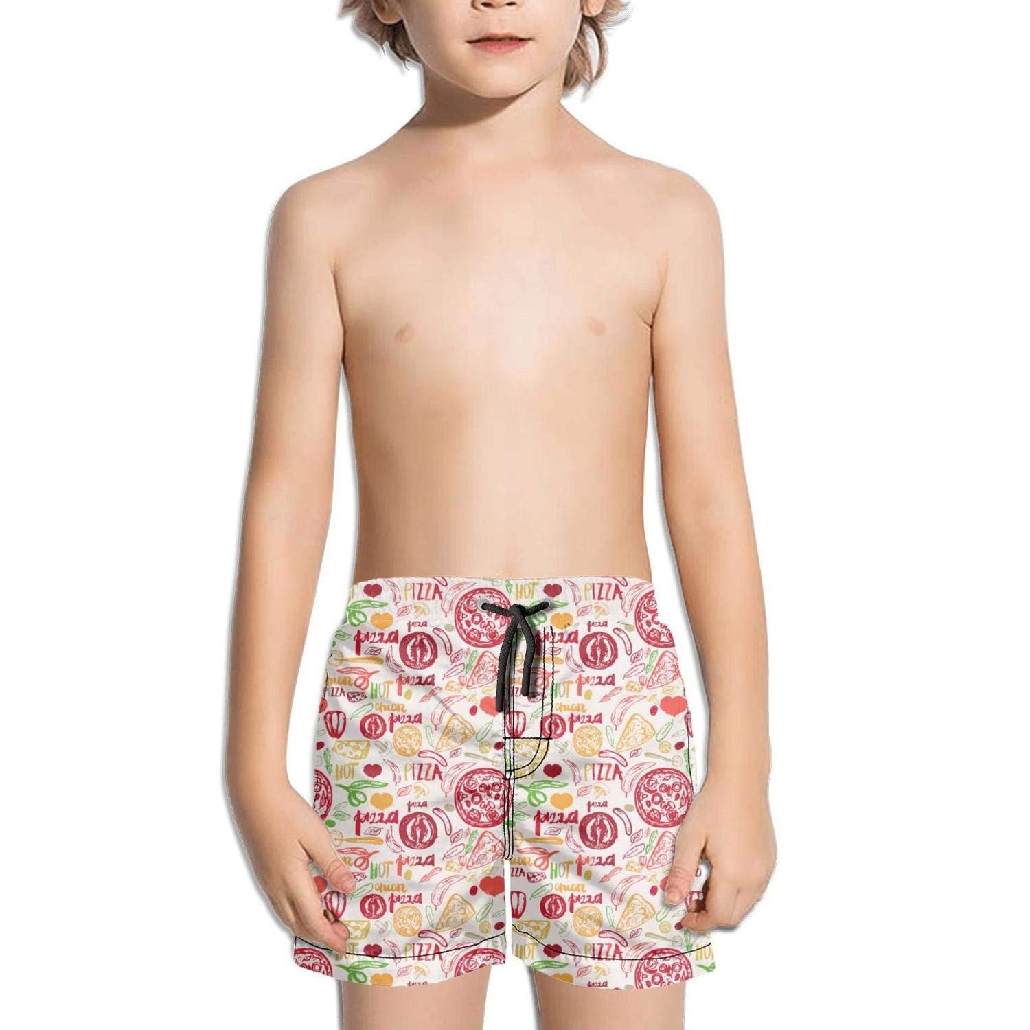LKIMNJ Boys Board Shorts Pizza Triangle Party Gold Quick Dry Bathing Suits Beach Board Shorts