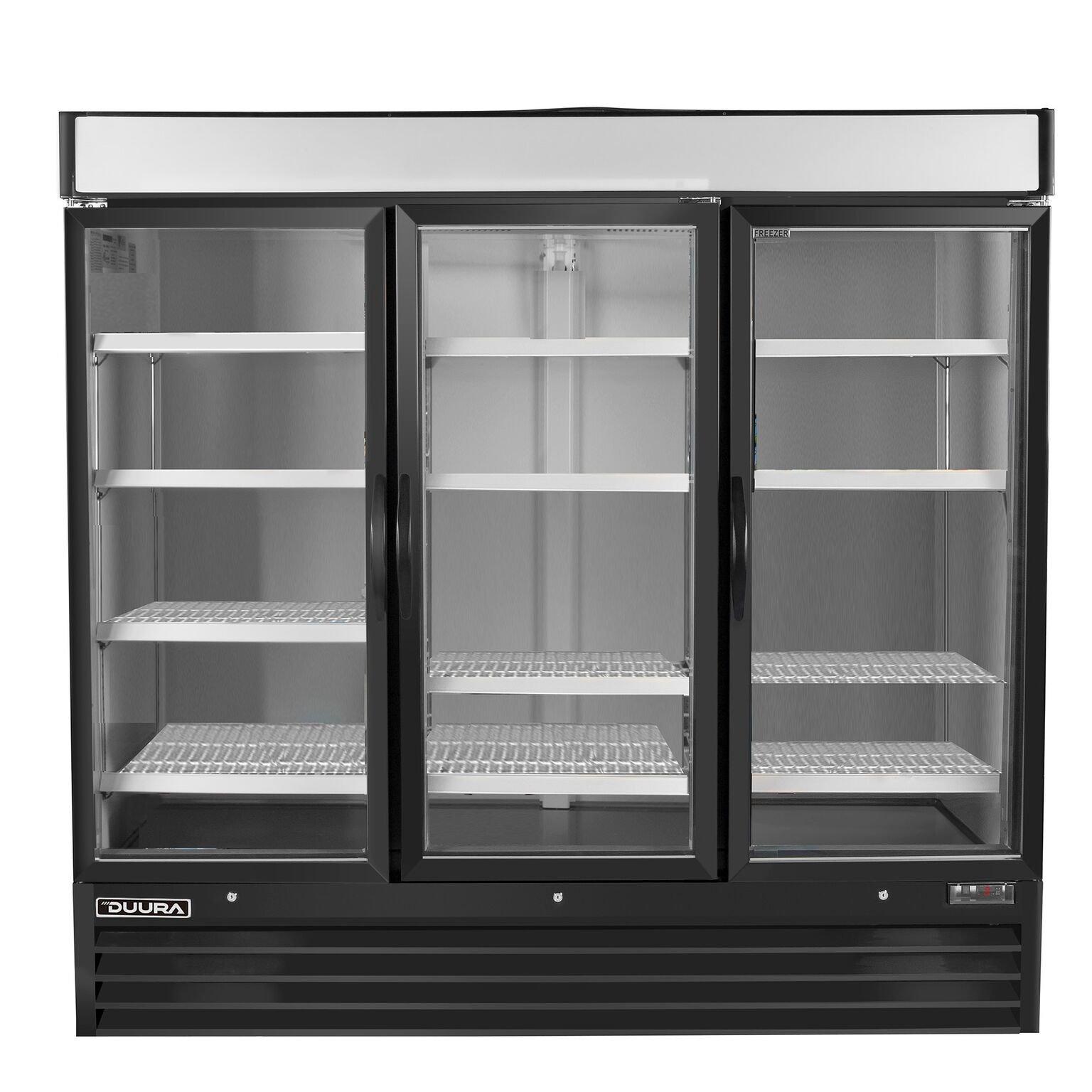 DUURA DGMB72F X-Series Glass Door Merchandiser Freezer Black