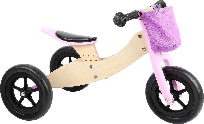 small foot 11611 Triciclo - Bicicleta Maxi 2 en 1, Rosa, de Madera, con Asiento Ajustable y neumáticos de Goma
