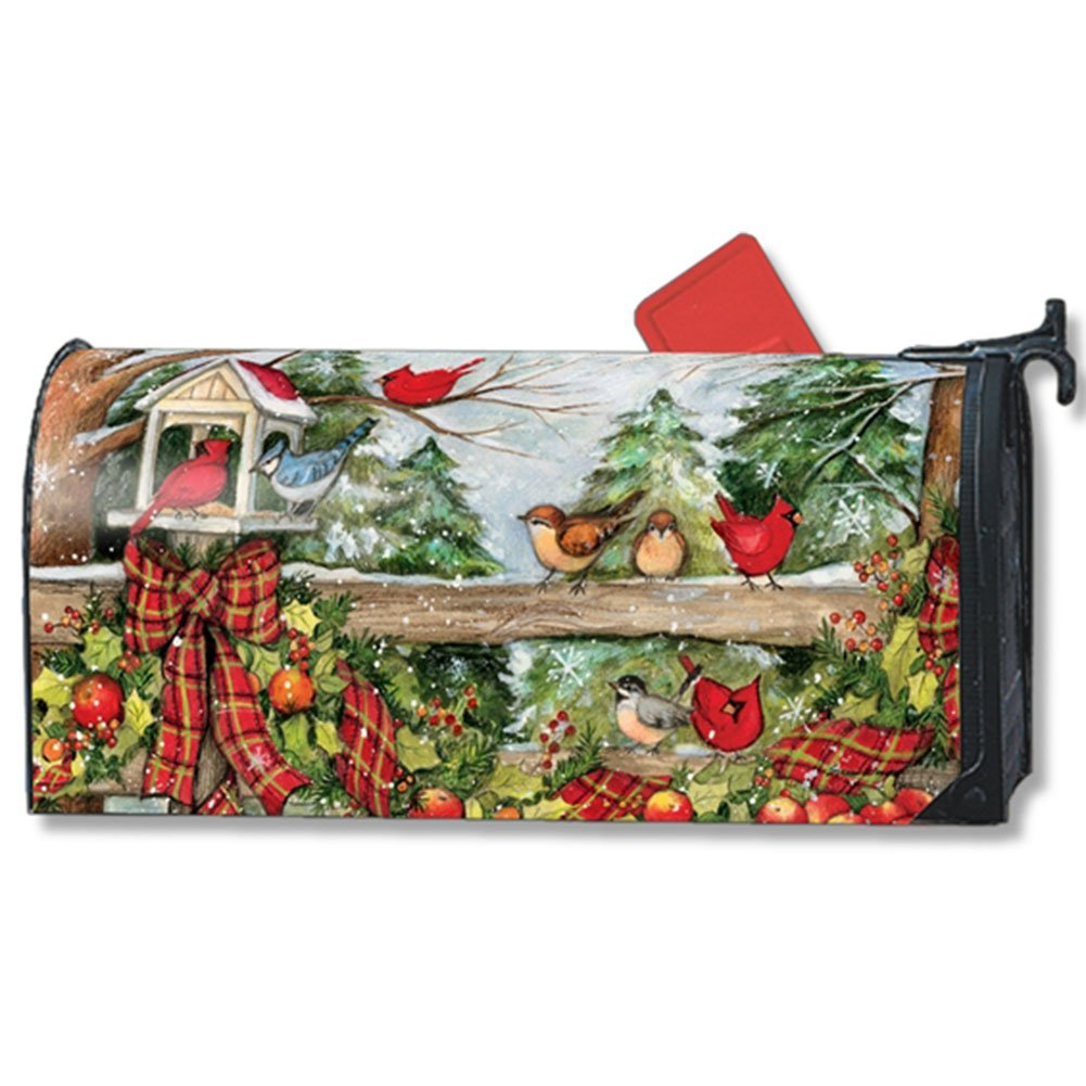 Winter Gathering Large Oversized Mailbox Cover Birds Apples Garland MailWraps