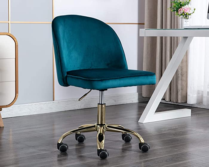 Chairus Tufted Task Chair, Reception Chair with Height Adjustment (Armless Design for Small Homes and Offices), Dark Teal