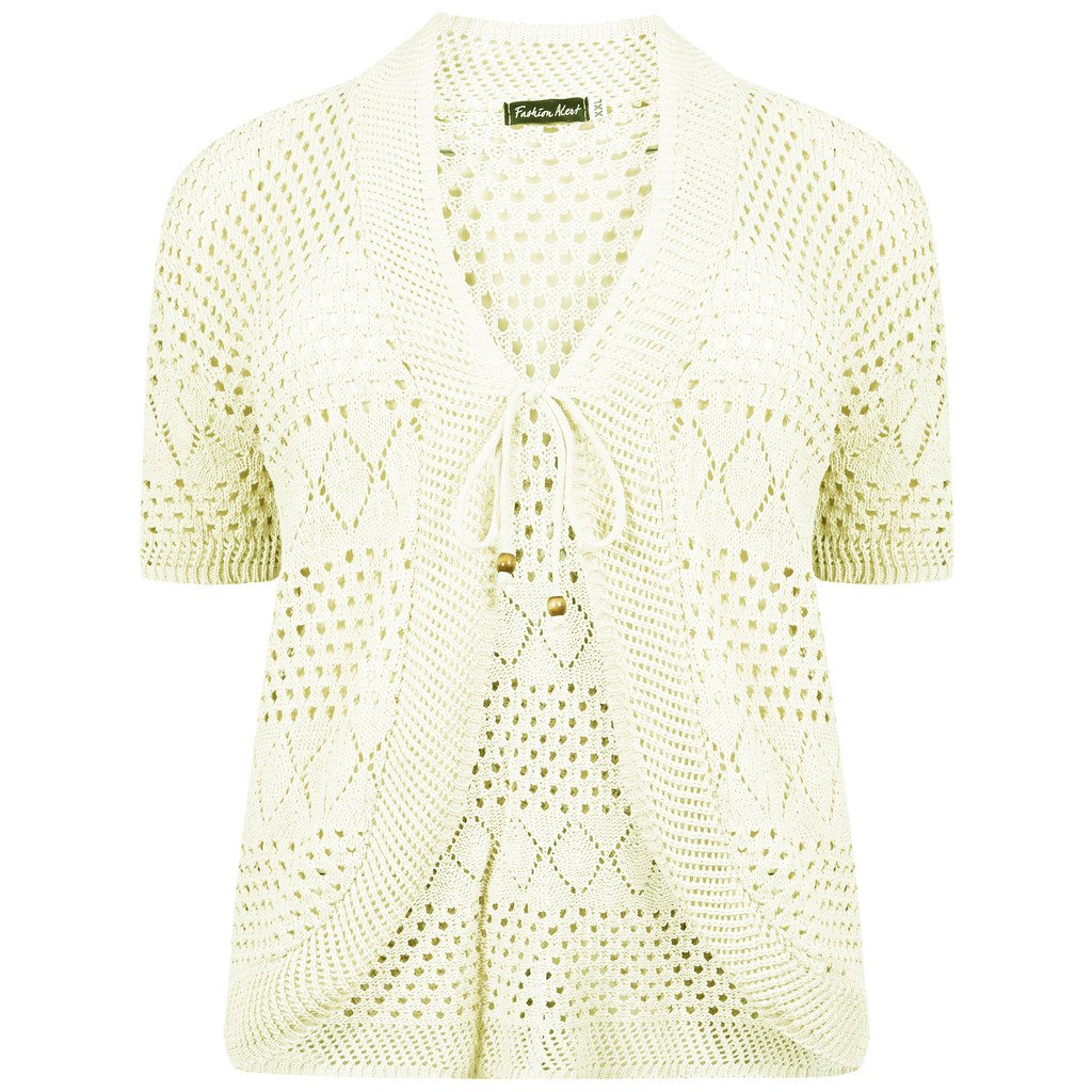 RM Fashions Womens Plus Size Crochet Knit Bolero Cardigan Shrug Top Cream 1X-Large