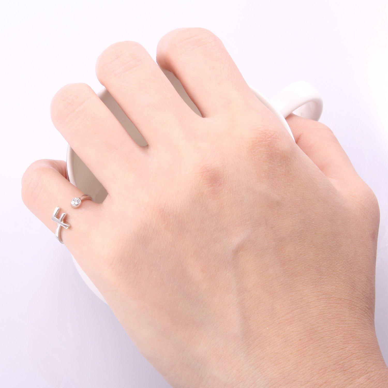 cd22e49cb53f Anillos inicial ajustable de la letra 925 de plata de ley tamaño J regalos  personalizados para mujeres VIKI LYNN  Amazon.es  Joyería