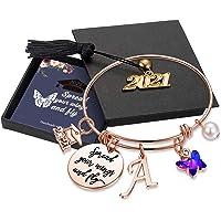 Inspirational Graduation Gifts Butterfly Bracelet, Engraved Inspirational Bangle with 2021 Graduation Grad Cap Mantra…