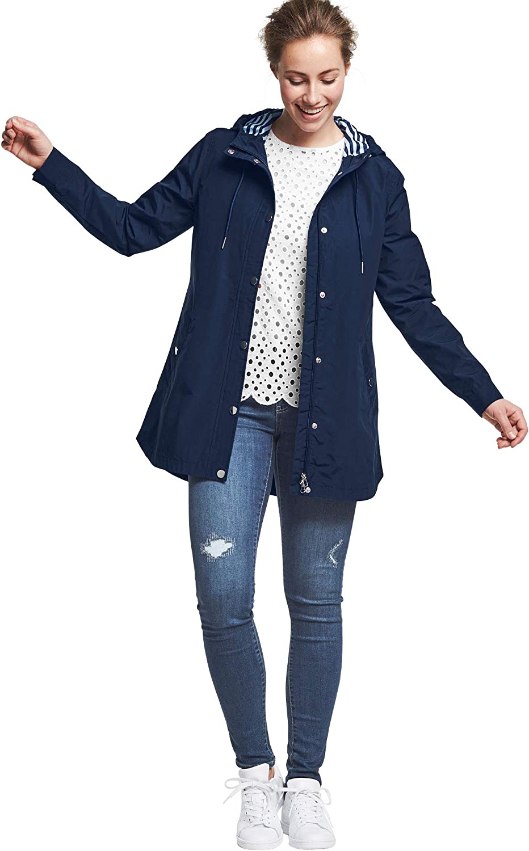 ellos Womens Plus Size Snap-Front Hooded Raincoat