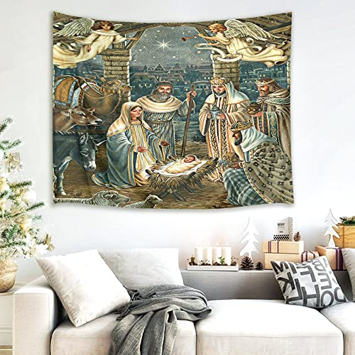 HVEST Nativity Scene Tapestry Jesus Christ Birth in Manger Wall Hanging Angel and Three Wise Men Tapestries for Bedroom Living Room Dorm Decor,92.5Wx70.9H inches