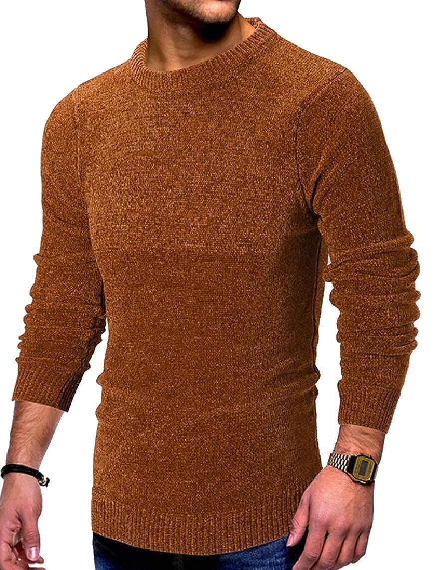 Yayu Mens Solid Color Warm Slim Stylish Knitting Crewneck Pullover Sweaters
