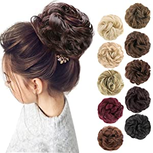 MORICA 1PCS Messy Hair Bun Hair Scrunchies Extension Curly Wavy Messy Synthetic Chignon for Women Updo Hairpiece(Color:2/33#)