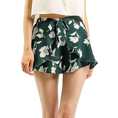 Allegra K Women's Casual Elastic Waist Summer Beach Floral Shorts at Women's Clothing store