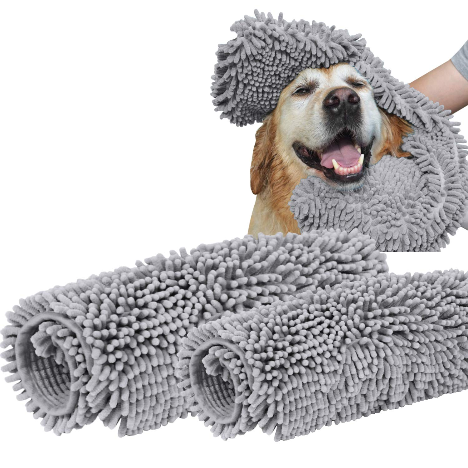 Turquoize Dog Pet Bath Towel 100% Microfiber Ultra Absorbent Quick Dry Towel (2 Pack) 32-Inch by 16-Inch Plus 24-Inch by 14-Inch Soft Chenille with Hand Pockets Gray