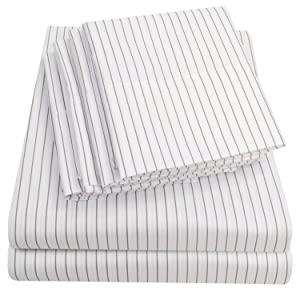Sweet Home Collection Sheets 6 Piece 1500 Thread Count Deep Pocket Hypoallergenic Brushed Microfiber Soft and Comfortable Bedding Set, Queen, Pinstripe White