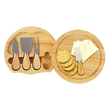 bd960eff2 Amazon.com: Gourmet 5 Pcs Travel Cheese Set with Cutting Board - Hard  Cheese Knife, Shaver, Fork and Spreader: Cheese Knives: Kitchen & Dining
