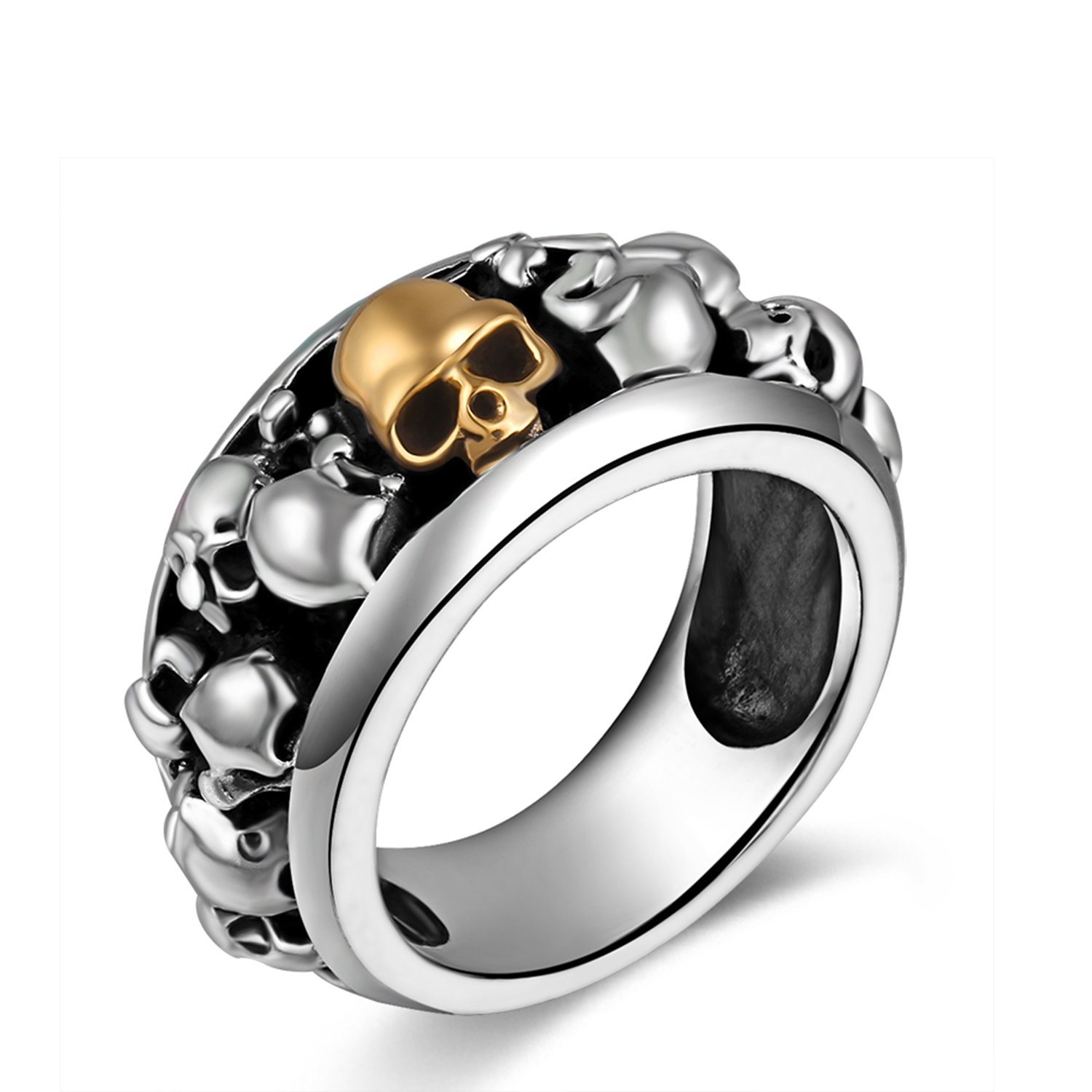 MetJakt Handmade Men's Punk Gold Skull Rings Solid S925 Sterling Silver Ring for Man and Boy Jewelry (10)