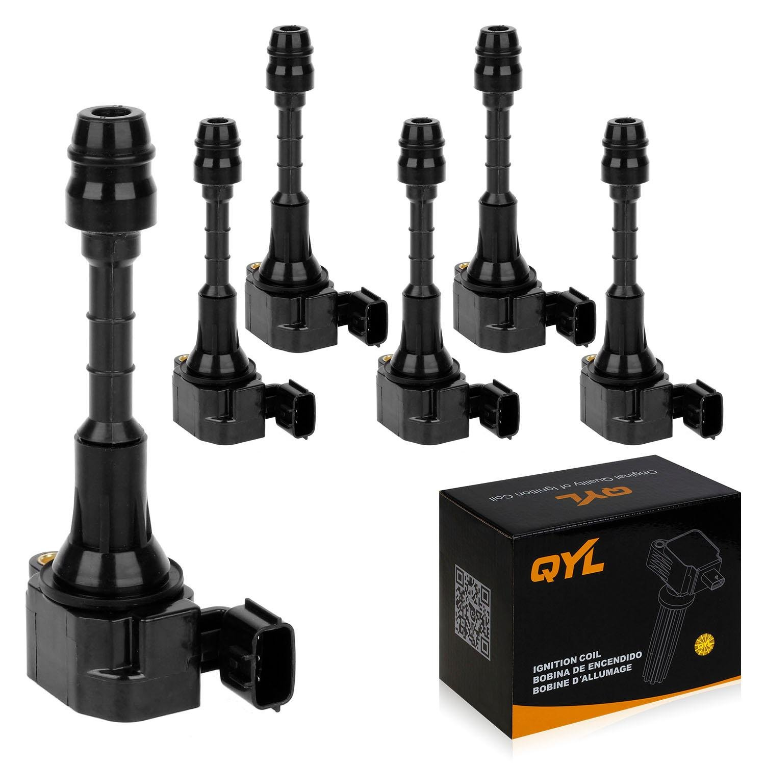 QYL Pack of 6 Ignition Coil for Nissan 350Z Infiniti FX35 G35 G35X M35 M35X V6 3.5L C1439 UF401 22448-AL615(Not Fit 07 08 Nissan 350Z)