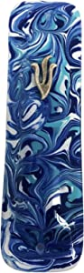 Marbled Blue Art Glass Mezuzah - Gift Box and Non-Kosher Scroll Included - Hand Made in USA