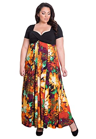 Igigi Womens Plus Size Short Sleeve Full Length Evening Maxi Dress