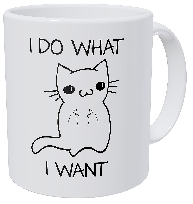 Amazon I Do What I Want Funny Coffee Mug Cat Middle Finger 11