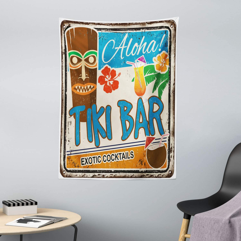 Cartel Vintage A/ñejado Aloha Tragos Ex/óticos y Coco Bebidas Antiguo Nost/álgico 150 x 110 cm ABAKUHAUS Bar Tiki Tapiz de Pared y Cubrecama Suave Resistente a la Suciedad