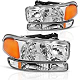 For 99-06 GMC Sierra 1500 2500 3500/00-06 GMC Yukon Headlight Assembly + Park/Signal Headlamp, Chrome Housing, One-Year Limited Warranty (Driver and Passenger Side)