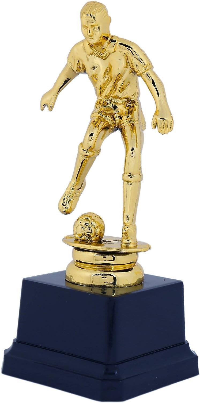 allenatori per tornei sportivi per bambini posa dribble 2,6 x 6,3 cm competizioni Confezione da 12 trofei dorati Trofei di plastica premio per giocatori di calcio Trofeo da calcio