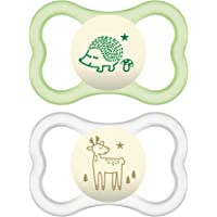 MAM Glow In the Dark Sensitive Skin Pacifiers, Baby Pacifier 6+ Months, Best Pacifier for Breastfed Babies, 'Air Night' Design Collection, Unisex, 2-Count