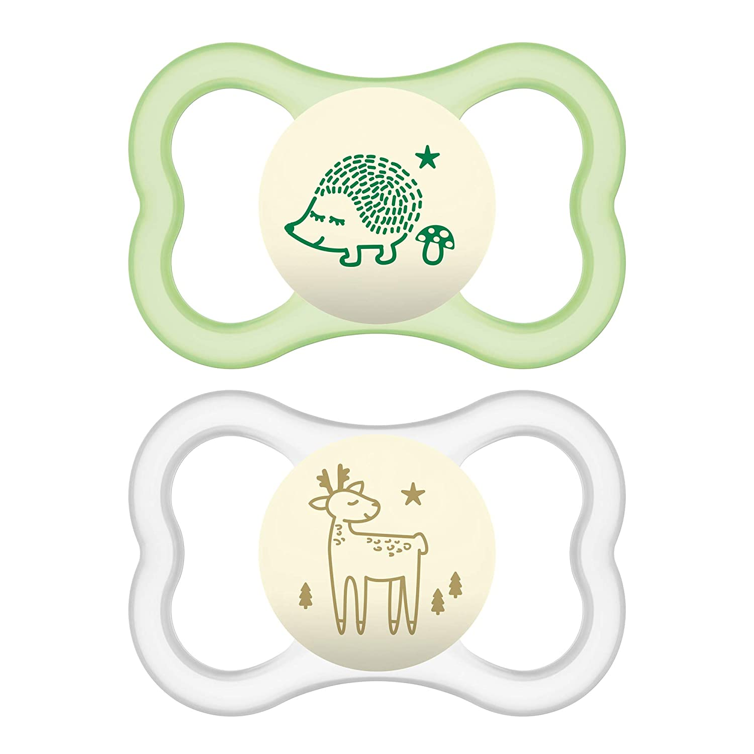 MAM Glow In the Dark Sensitive Skin Pacifiers, Baby Pacifier 6+ Months, Best Pacifier for Breastfed Babies, Air Night Design Collection, Unisex, ...