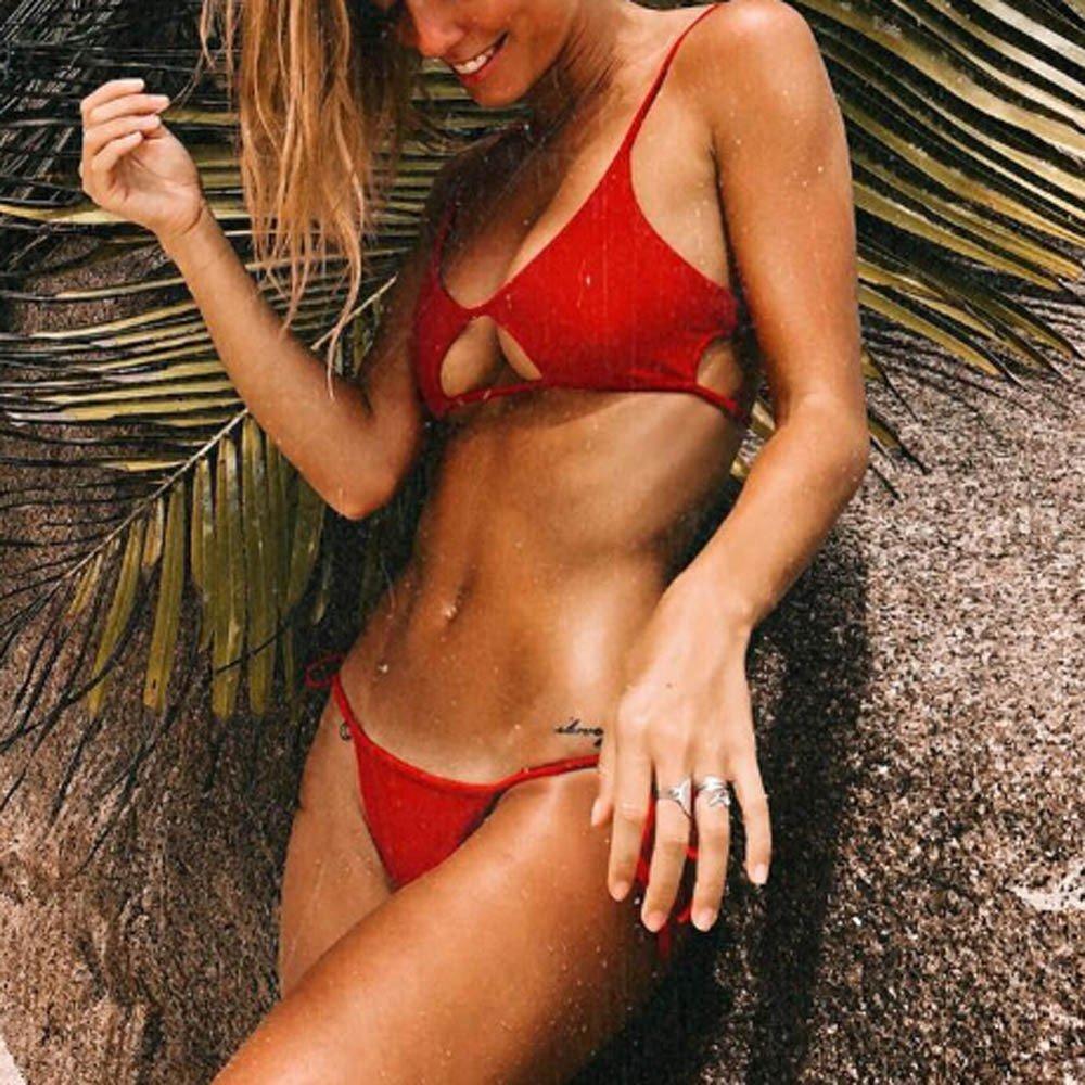 Amazon.com: Oasisocean Womens Sexy Strappy Tie Side Bottom Triangle Cheeky Bikini Sets 2PCS Swimsuits: Clothing